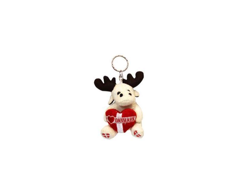 Plush Moose Keychain Toy with Danmark Logo