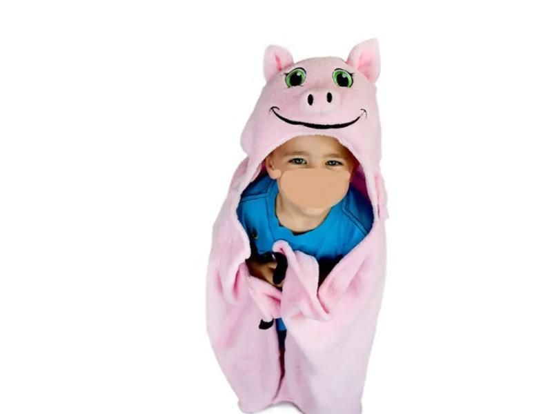 Soft Animal Pig Design Hood Baby Bath Blanket Fleece Baby Blanket