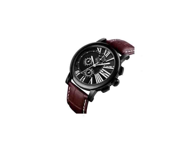 Skmei 9196 Genuine Leather De Longe Quartz Watch Genuine Leather Strap Quartz Watch Man
