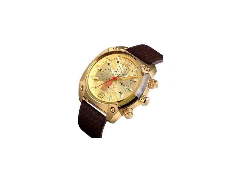 Skmei 9190 Genuine Leather Quartz Watch Men 3atm Golden Janpan Mov't Clock Man Wristwatch