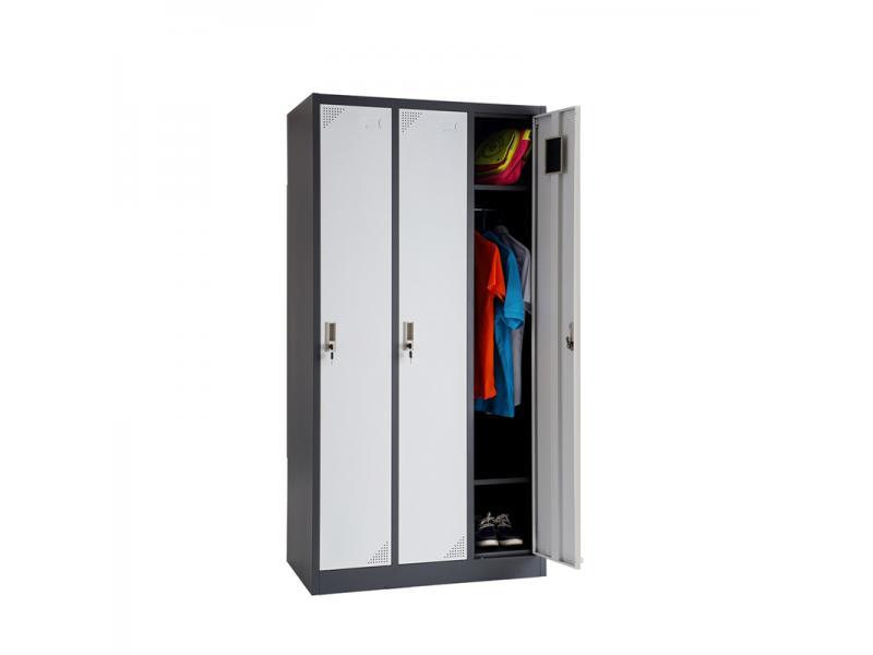Storage Cabinet Locker Office School GYM Metal 3 Door Steel Locker