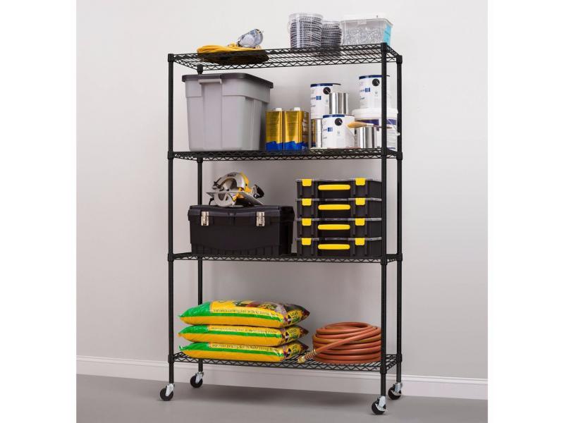 Best Selling NSF 4 Tiers Epoxy Coated Garage Storage Wire Grid Shelving Rack