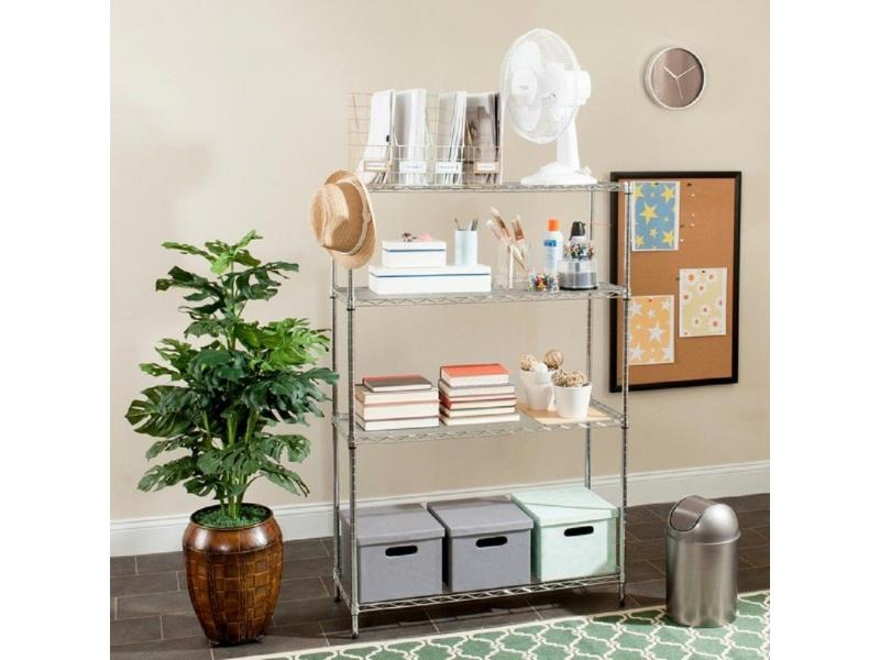 Multipurpose Light Duty Metal Chrome Rack,Space Saving 4 Tiers Living Room Storage Wire Shelving