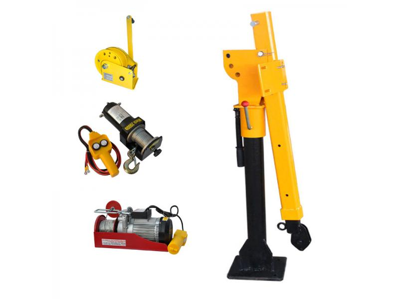 300kg 500kg 1T Mini Crane Mini Truck Crane 12V/24V/220V with Electric Winch 1T-14m(12V+wireless Remo
