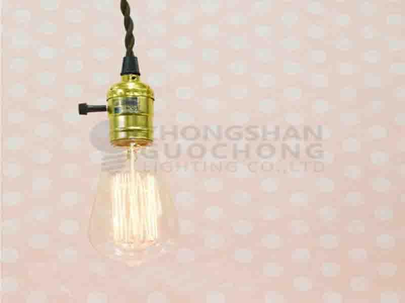 SINGLE COPPER SOCKET VINTAGE-STYLE PENDANT LIGHT CORD W DIMMER/11 FT TWISTED CLOTH CORD SINGLE COPP