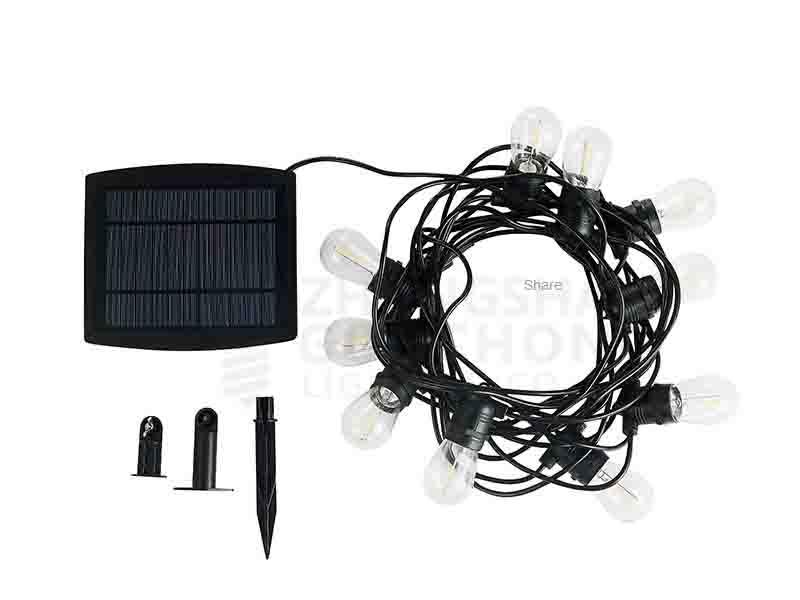 Solar/ 10 E27 Fixed SOCKET/ OUTDOOR COMMERCIAL WEATHERPROOF STRING LIGHT/ S14 BULBS/ BLACK CORD Sol