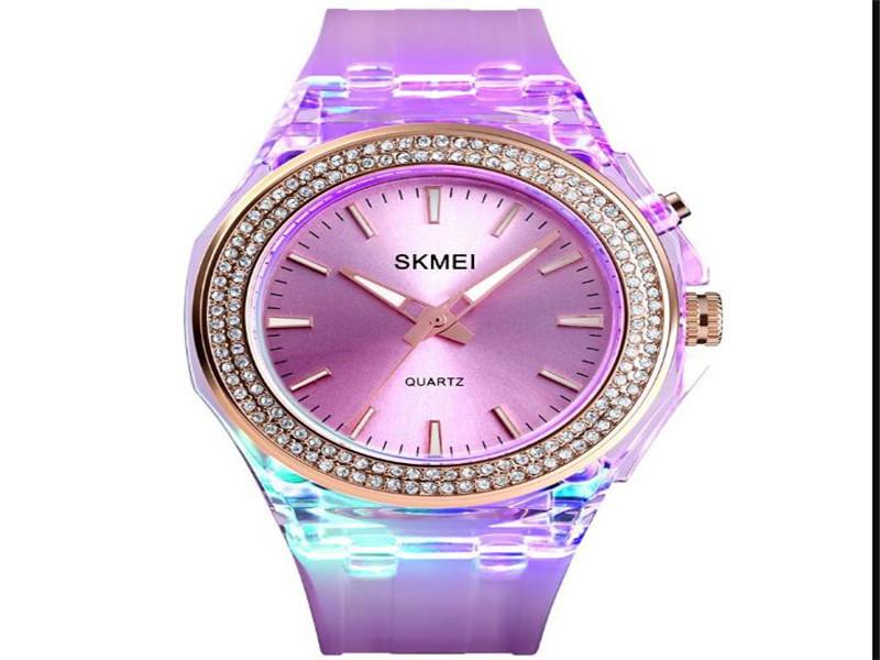 Skmei 1553 Watches Ladies Quartz with Coloful LED Backlight PU Band