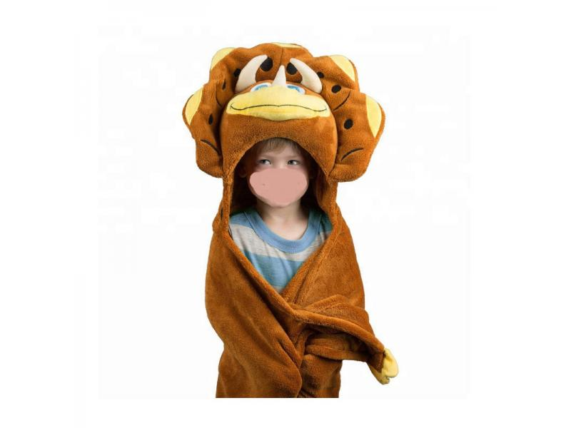 Soft Animal Triceratop Design Hood Baby Bath Blanket Fleece Baby Blanket