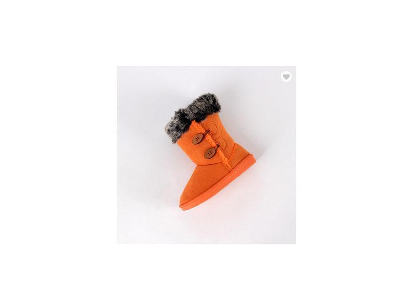 Top Quality Comfortable Plush Orange Children Snow Boots