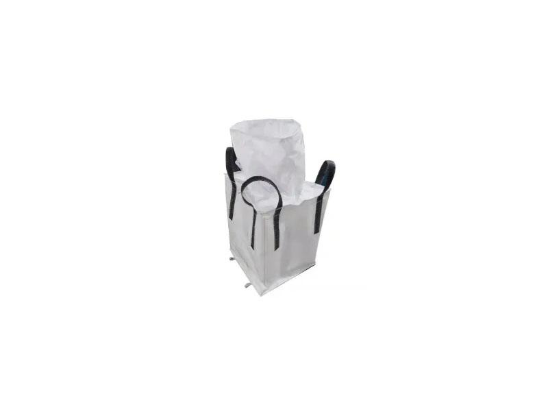 White Heavy Coated Fabric Cross Corner Black Belt Bulk Big Bag