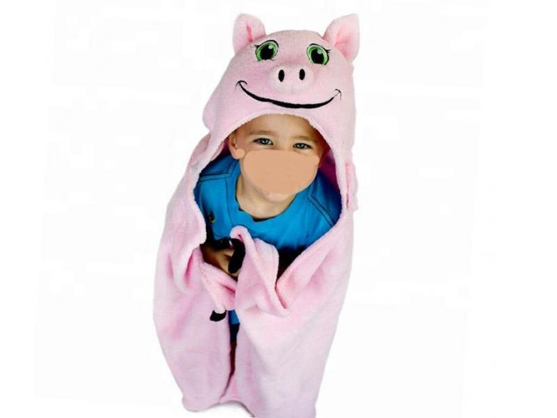 Comfortable Portable Animal Baby Bath Kids Hooded Blanket Pig