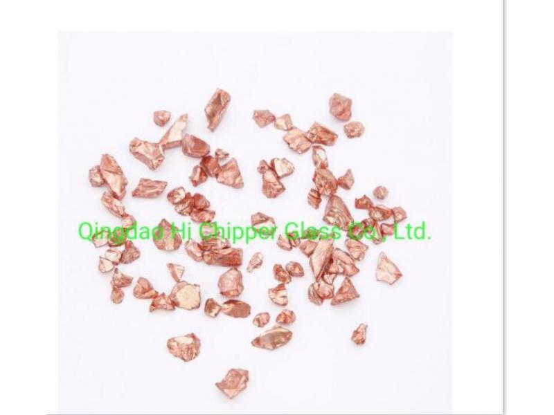 Engineered Stone Copper Coated All Sided Glass Chips for Decoration