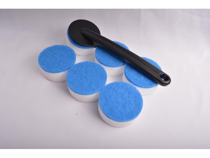 Magic Sponge Brush 6pcs Sponge with One Black Plastic Handle