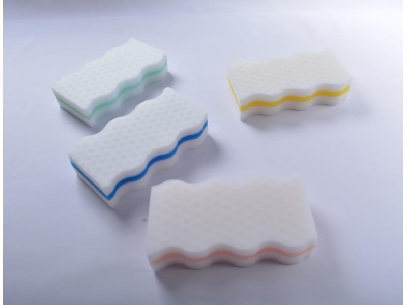 Wave Sandwich Sponge Cleaning Eraser Foam Magic Sponge
