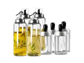 Hot Sale Household Using Olive Oil Glass Bottle Oil&Vinegar Dispenser Set