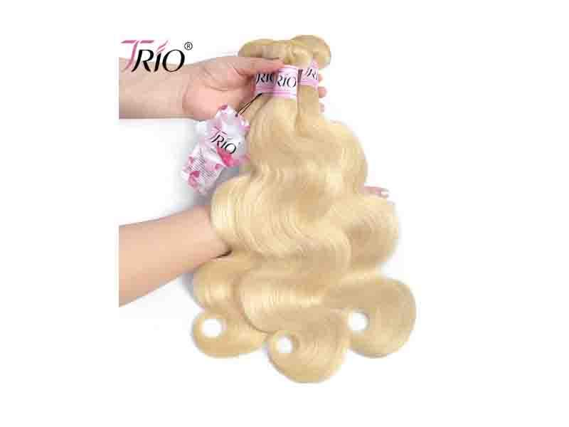 613 Color Blonde Human Hair Weave/Sew in Human Hair Extensions Blonde