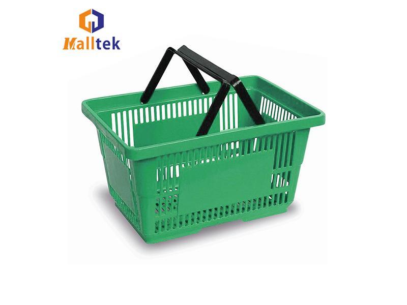 Customized Logo Plastic Supermarket Shopping Basket Double Hand CE Passed