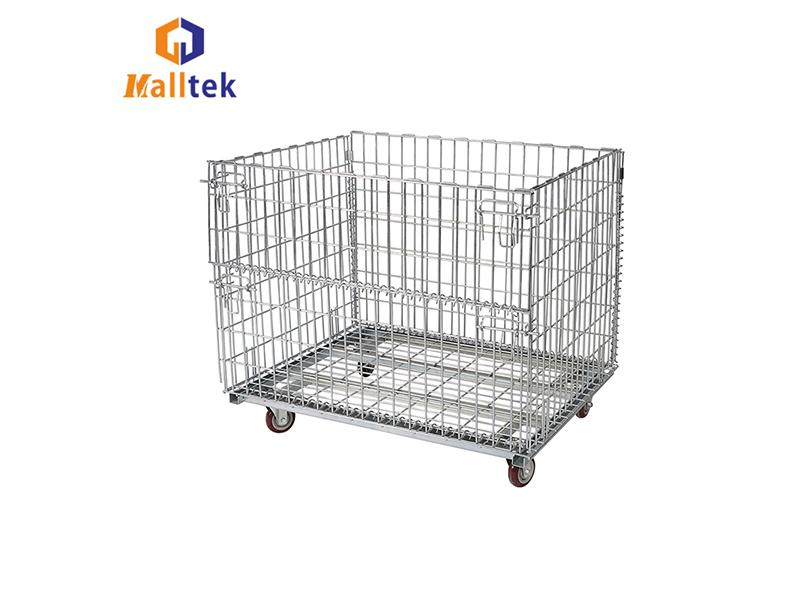 Wire Mesh Storage Cage Warehouse Foldable Wire Container Industrial Galvanized Steel Cage Pallet Sti