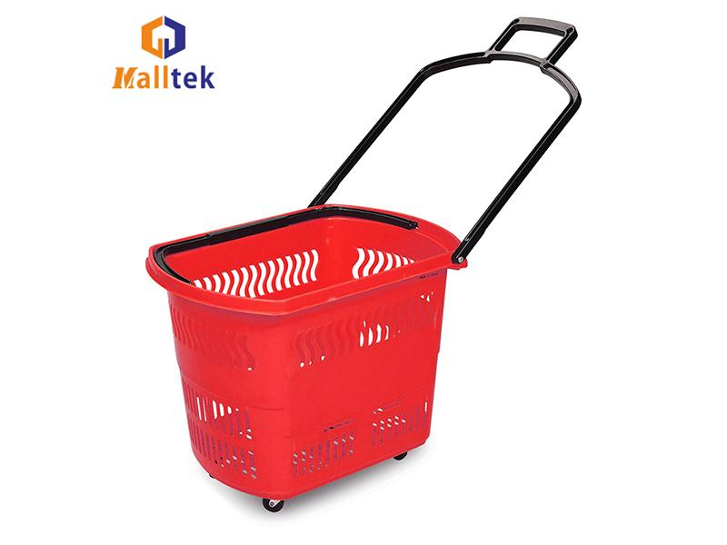 Eco-nvironmental Supermarket Handle Plastic Shopping Baskets Carts with 4 Wheels