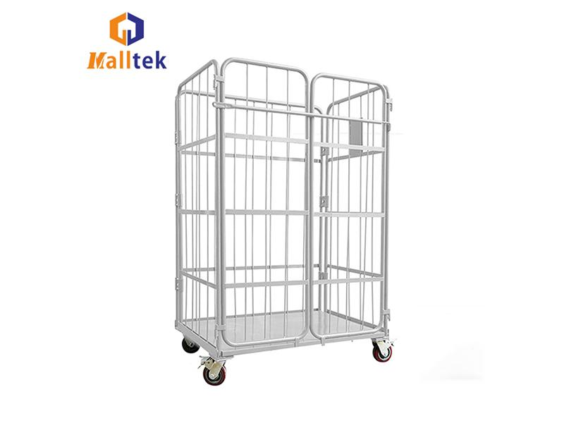 Four Side Logistics Trolley Transports Foldable Frame Metal Security Wire Mesh Trolley