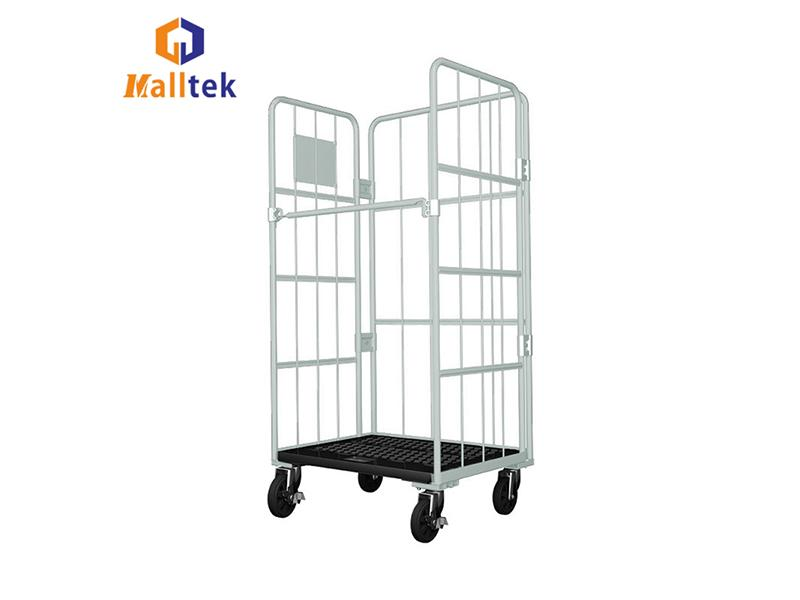 Collapsible Plastic Pallet Base Laundry Cage Trolley Roll Container with 4 Wheels