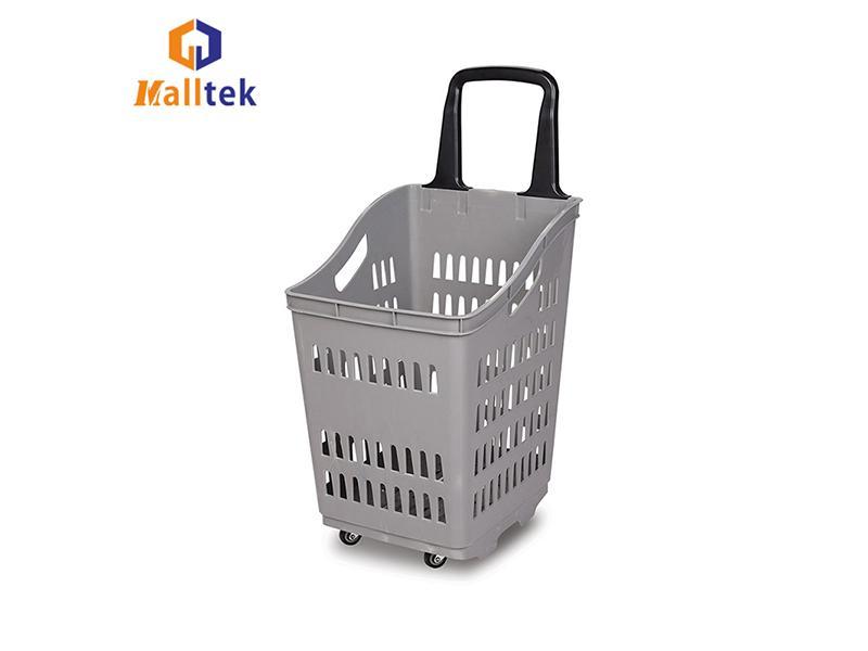 Single Handle Supermarket Basket Trolley Plastic Shopping Basket with Wheels
