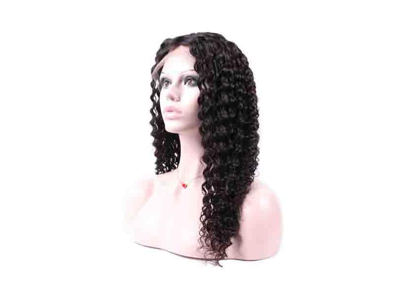 Trio Wholesale Unprocessed Cuticle Aligned Brazilian Hair Deep Wave Full Lace Wig in Stock
