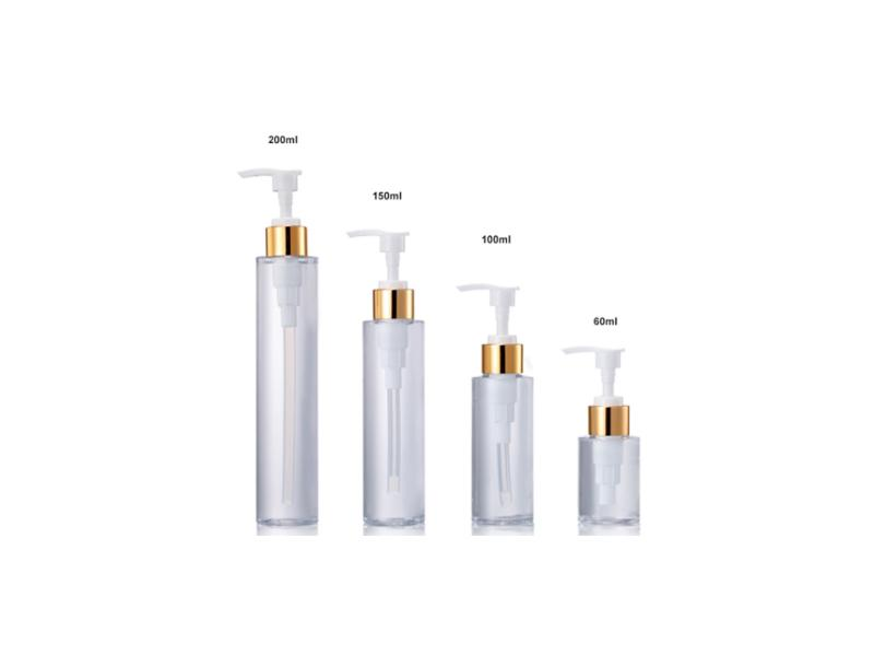 60ml 100ml 150ml 200ml PET Cylinder Cosmetic Bottle with Lotion Pump