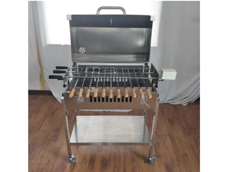 Heavy Duty Portable Cyprus BBQ Grill Rotisserie with Lid Trolley Barrel BBQ Motor