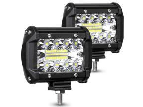 12v 4inch 60W LED Pod Flash Amber Strobe Light Bar 4X4 Offroad ATV SUV Spot Flood Combo Driving Fog