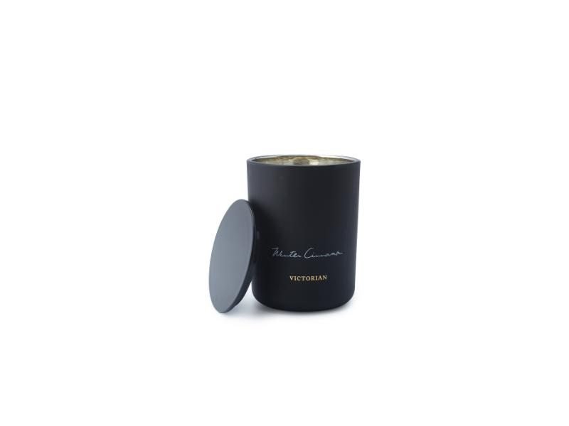 Mescente Wholesale Luxury Custom Empty Matte Black Candle Holder Metal Frosted Glass Candle Jars wit