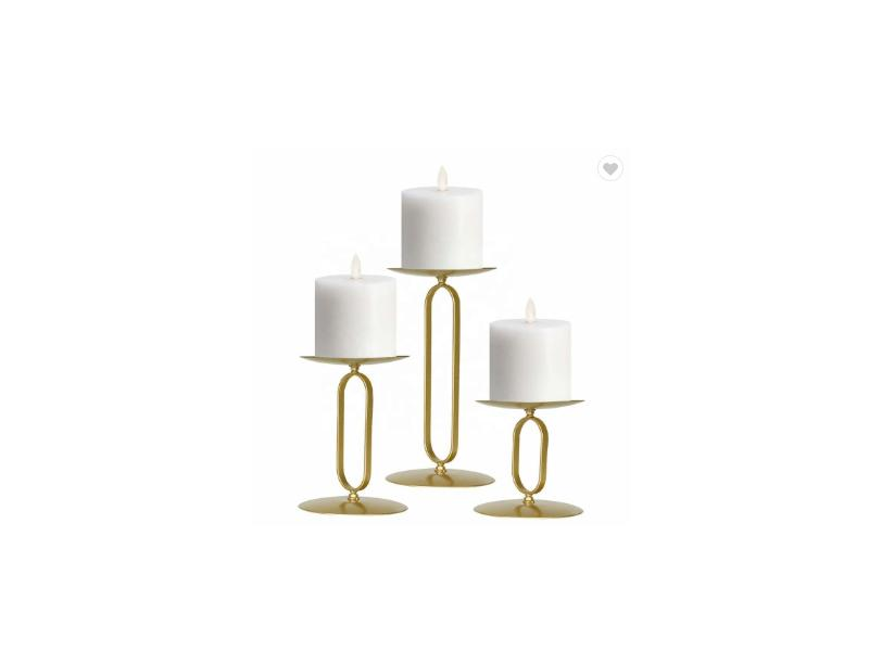 Set of 3 Pillar Candle Stand Round Candle Holder Gold Metal Candle Holder for Home Decor