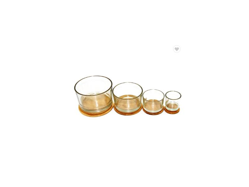 2020 Hot Sale Clear Cylinder Glass Candle Jar with Wooden Lid