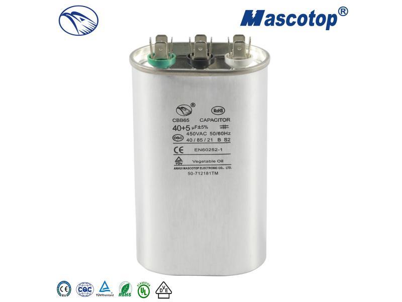 Oval Capacitor CBB65 50+5UF 370V 450V
