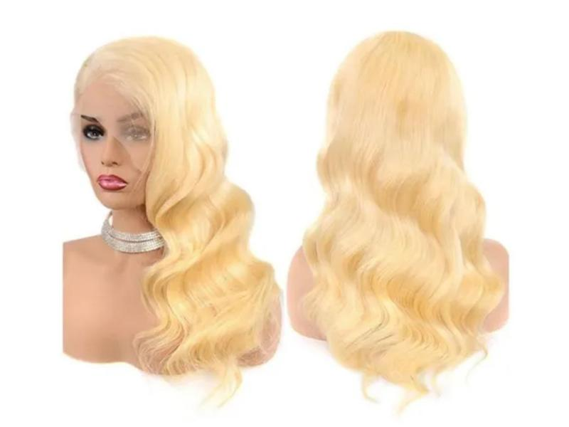 Blonde Dyeable Hair Extension Brazilian Virgin Human Hair Full Lace Wigs