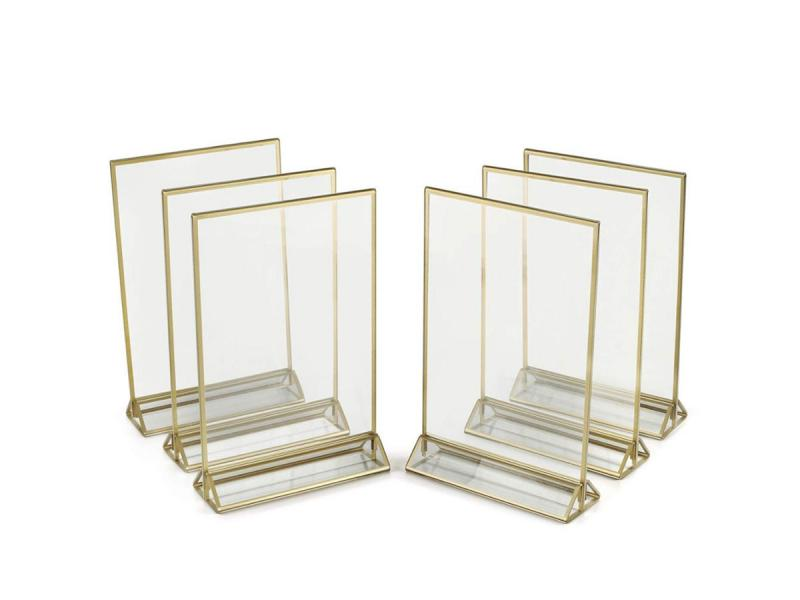 Acrylic 2 Sided Frames with Gold Borders and Vertical Stand