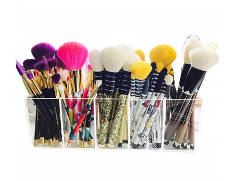 Acrylic Makeup Brushes Organizer Holder Lipstick Stand Case Jewelry Box Cosmetic Tray