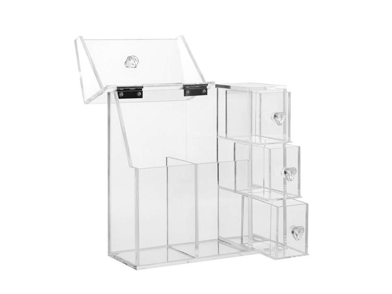 Makeup Brush Holder Dustproof Storage Box Organizer with White Pearl 3 Drawers