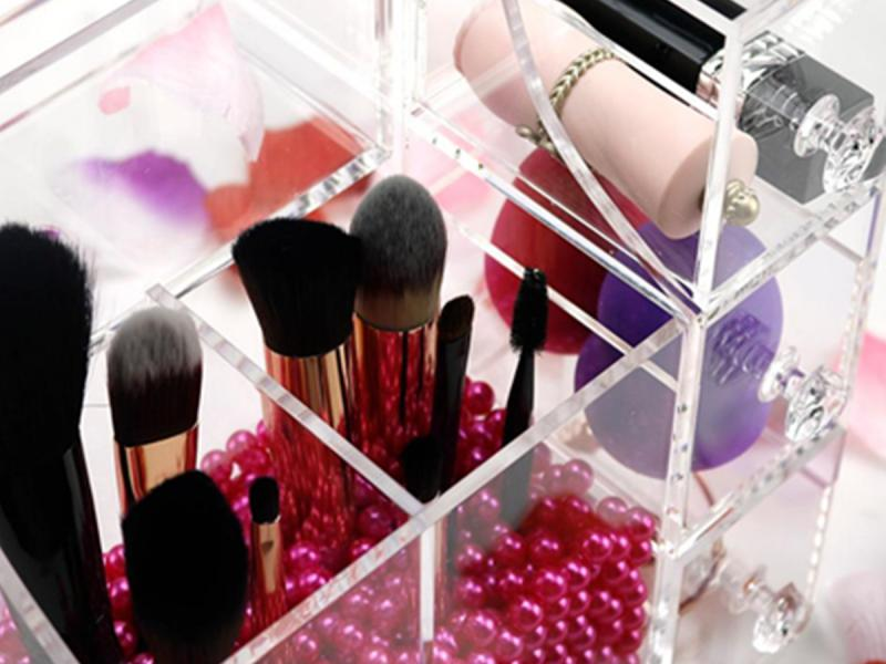 Transparent Cosmetic Makeup Acrylic Organizer Drawers Set for Lipstick, Brushes, Bottles, Jewelry an