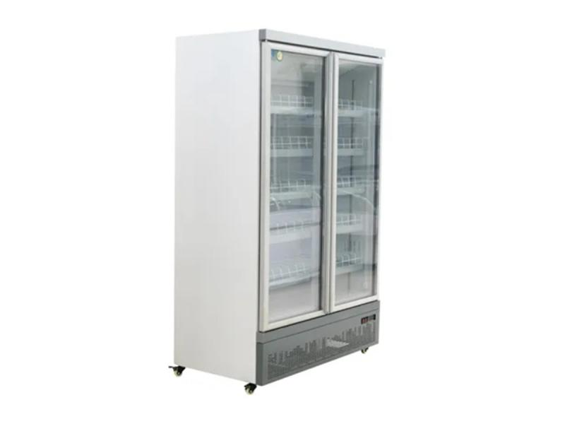 Double Swing Door Commercial Upright Display Showcase Cooler for Beverage Stock