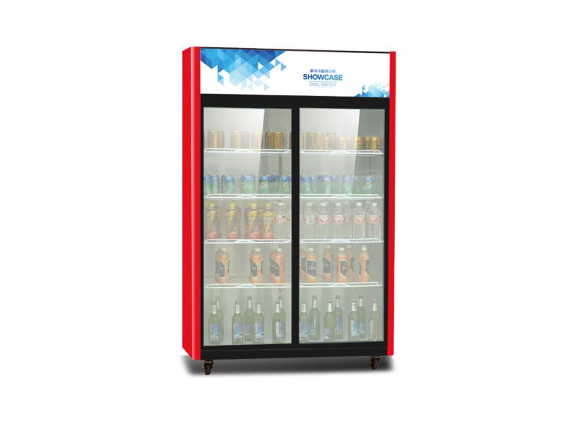 Two Door Cold Supermarket Showcase Fridge Drinks Refrigerators