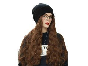 Fashion Women Winter Knit Beanie Cap Wig Blonde Long Synthetic Hair Wig Hat
