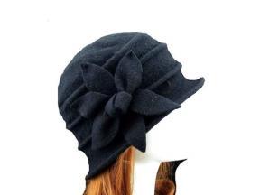 Wholesale Women Cloche Bucket Cap Hat Winter 100% Wool Butterfly Soft Hat