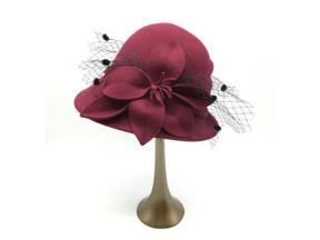 Cheap Womens Handmade Winter Fashion 100% Wool Felt Ladies's Hat Red Church Hats for Wedding