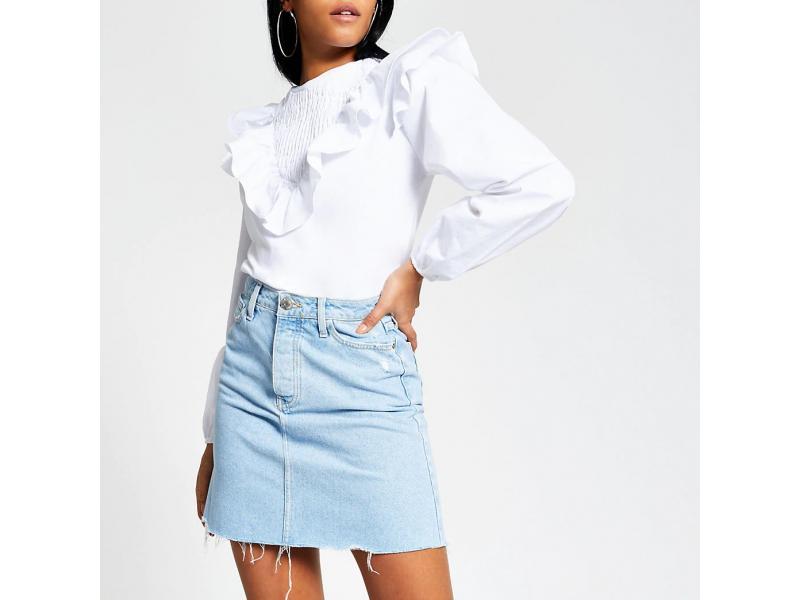 Light Blue Denim Mini Skirt