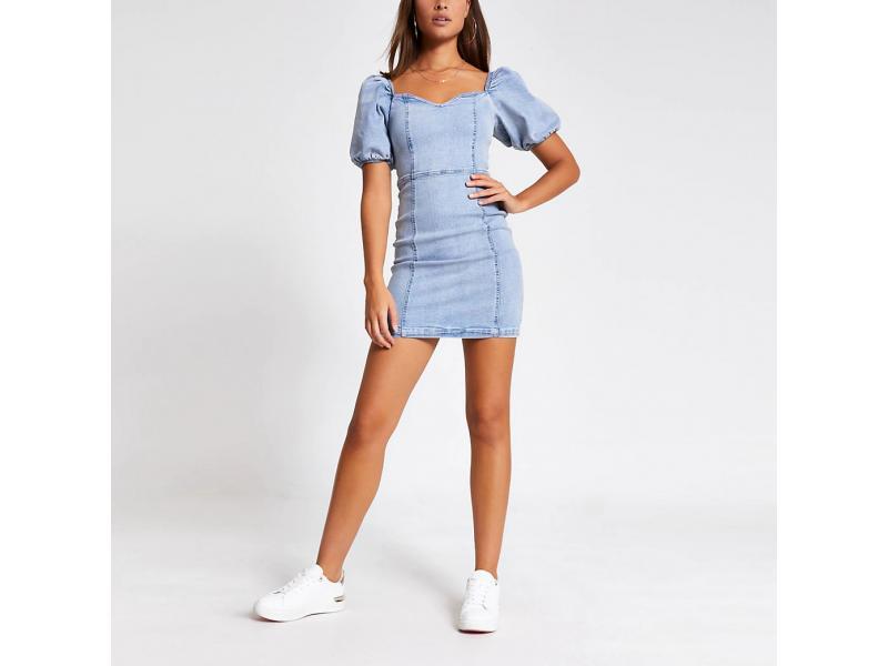 Blue Puff Sleeve Fitted Denim Mini Dress