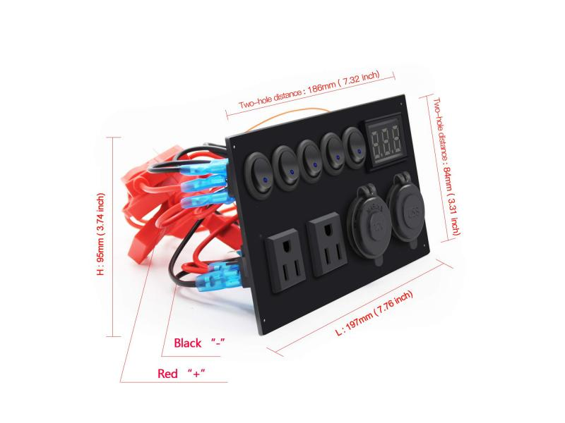 Multi-Function Panel with 5 Gang Toggle Switch +Dual USB Charger 4.2A + 12V Power Outlet + LED Voltm