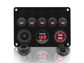 5 Gang Rocker Switch Panel Waterproof Marine Boat 12V Toggle Switches ON-OFF with Digital Voltmeter