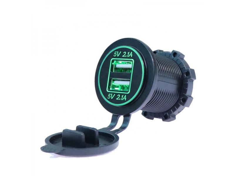 Waterproof DC 5V 4.2A Double USB Ports Marine Car Charger Socket with CE Certificate
