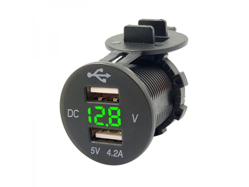 LED Display DC 5V 4.2A Dual USB Car Charger Socket with Voltmeter for Marine SUV TRUCK BUS